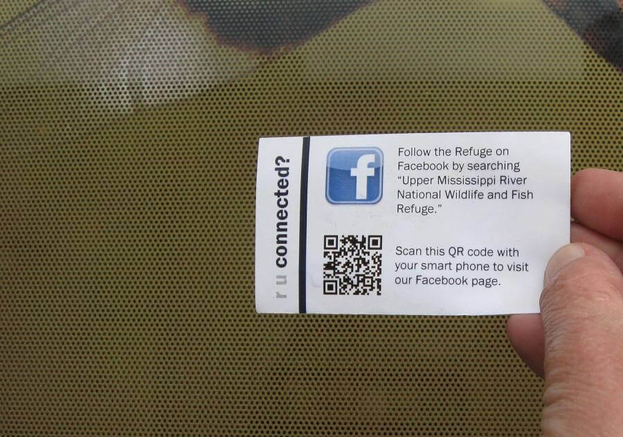 QR code on a business card for easy Facebook following